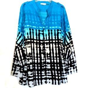 Calvin Klein Blouse Tunic Shirt Button Front XL